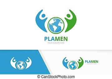 Vector world and people logo combination. Earth and family symbol or icon. Unique globe and team logotype design template.