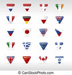 Vector world flags triangle arrow