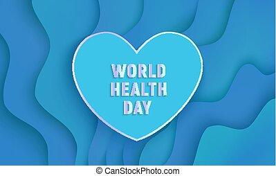 Vector world health day papercut heart on blue