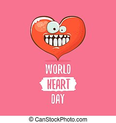 Vector world heart day card with funny cartoon heart character isolated on pink background. Conceptual heart day comic funky kids poster or banner with funky heart