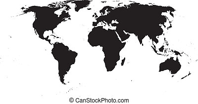 Vector World Map - Black on white background