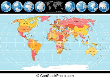 Political Map Of World With Country Names And Capital Clipart - World map political with country names
