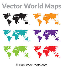 Vector World Map -  Vector world maps set