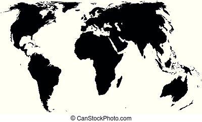 Vector world map isolated on white background