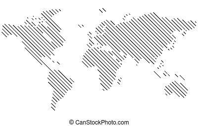 Vector - World map Lines, diagonal - Vektor - Weltkarte...