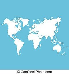 Vector world map on blue background for design