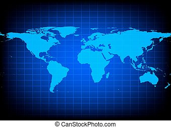 Vector World Map on blue background