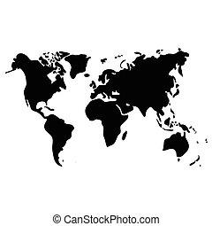 Vector world map on white background, black illustration