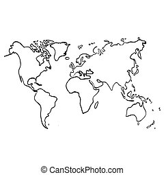 Vector world map on white background