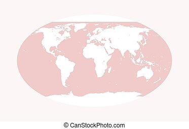 Vector world map. Pink globe