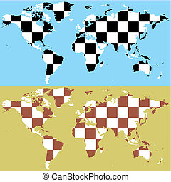 vector world map with chess pattern