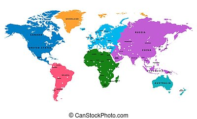 Vector Of Vector World Map With Country Labels Vector World Map - World map country labels
