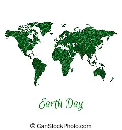 Vector World Map with Green Floral Pattern