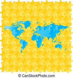 vector world map with puzzle pattern
