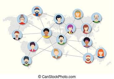 Social web networking world diagram  Global social network