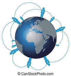 vector world wide human network