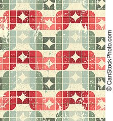 Vector worn textile geometric seamless pattern, decorative squared abstract infinite retro background.
