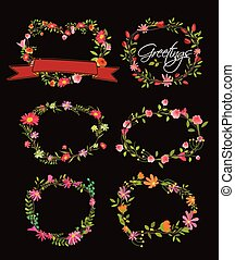 Vector Wreath Made With Flowers