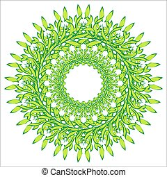Vector wreath of green leaves