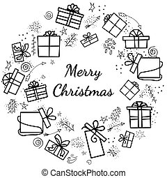 Vector wreath of isolated elements on a white background for the holidays with gifts. in the center of lettering, place for text, copy space. Vectone doodle illustration with gifts on a white background.