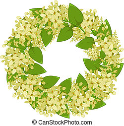 Vector wreath of twigs of lilac. EPS 8, AI, JPEG