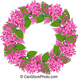 Vector wreath of twigs of lilac