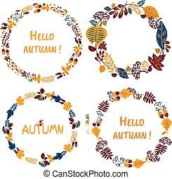 Vector wreath set, handdrawn colorful leaves and the inscription Hello Autumn. Autumn mood, harvest