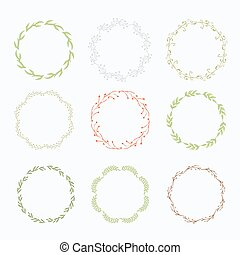 Vector wreath with green leaves isolated on