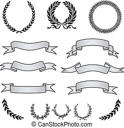 Vector Wreaths and Banner Set - Set of vector wreaths and ...