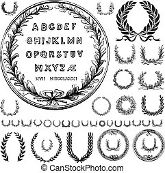 Set of vector wreath ornaments and letters. Easy to change colors.