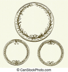 Vector Wreaths with Background Pattern