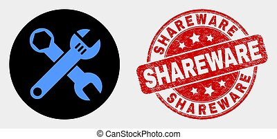 Vector Wrenches Icon and Distress Shareware Stamp - Rounded ...