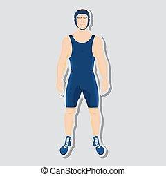 Vector wrestler fighter