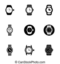 Vector wristwatch icon set on white background