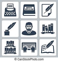 Vector writer icons set: typewriter, bestseller, feather,...