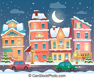Vector Xmas card with a decorated snowy old city town at Christmas eve in night.