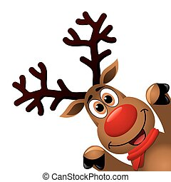 vector xmas drawing of funny red nosed reindeer. christmas...