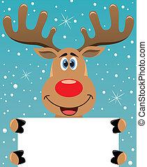 rudolph deer holding blank paper - vector xmas illustration ...
