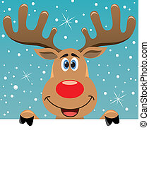 vector xmas illustration of happy rudolph deer holding blank paper for your text
