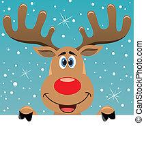 rudolph deer holding blank paper - vector xmas illustration...