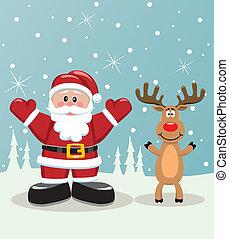 santa and rudolph deer - vector xmas illustration of santa ...