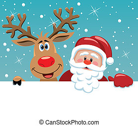 santa claus and rudolph deer - vector xmas illustration of ...