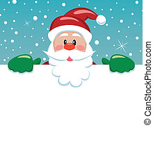santa holding blank paper - vector xmas illustration of...
