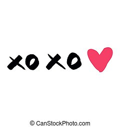 Vector xoxo with pink heart isolated on white background