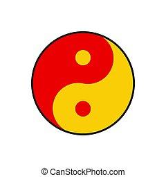 vector, yan, yin, icono
