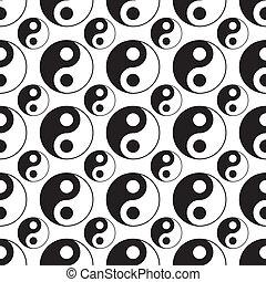 vector, yang, seamless, yin