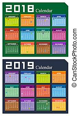 Vector year of 2018 and 2019 calendar background