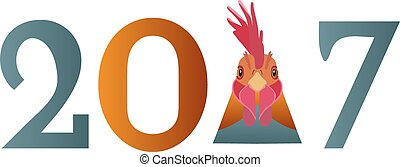 Vector Year of the rooster. Cartoon, flat style cock head