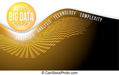 Vector yellow abstract background with big data icon