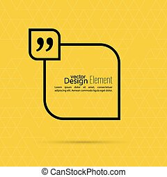 Vector yellow abstract background with triangles. Quotation Mark Speech Bubble. Quote sign icon.